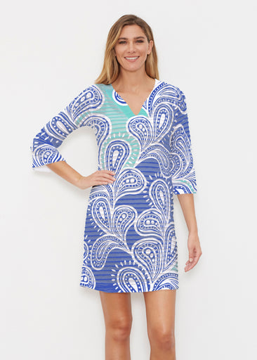 Paisley Burst (20373) ~ Banded 3/4 Sleeve Cover-up Dress