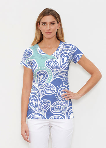 Paisley Burst (20373) ~ Signature Cap Sleeve V-Neck Shirt