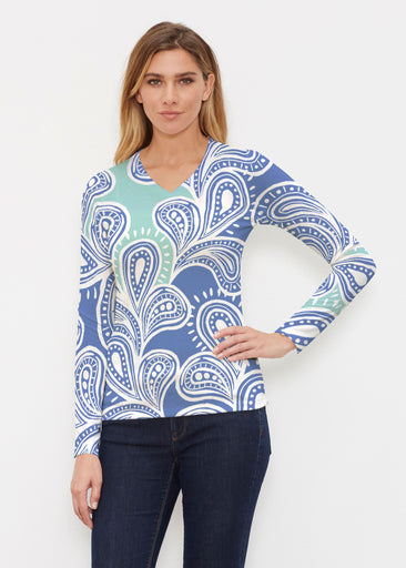 Paisley Burst (20373) ~ Butterknit Long Sleeve V-Neck Top