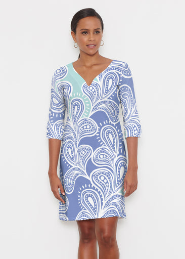 Paisley Burst (20373) ~ Classic 3/4 Sleeve Sweet Heart V-Neck Dress