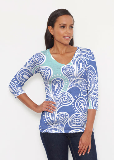 Paisley Burst (20373) ~ Signature 3/4 V-Neck Shirt
