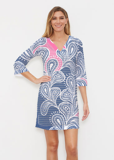 Paisley Burst Pink (20381) ~ Banded 3/4 Sleeve Cover-up Dress