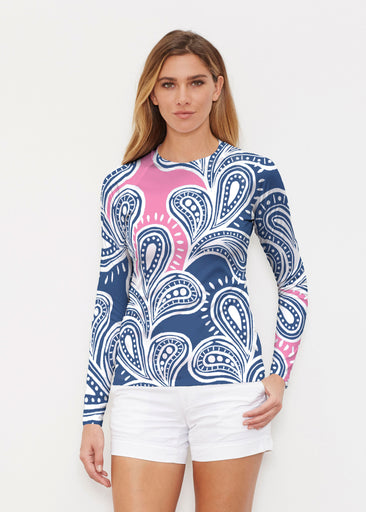 Paisley Burst Pink (20381) ~ Long Sleeve Rash Guard