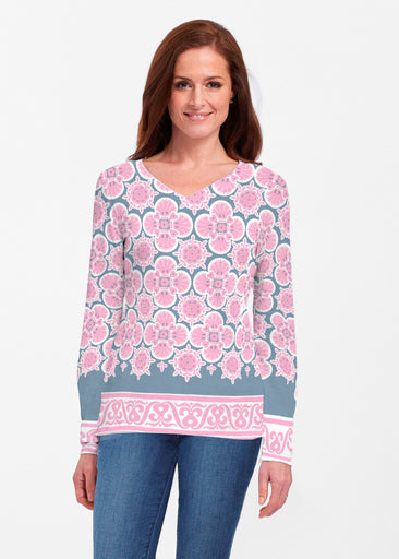 Isabella Pink (22059) ~ Classic V-neck Long Sleeve Top