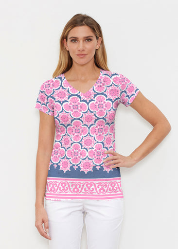 Isabella Pink (22059) ~ Signature Cap Sleeve V-Neck Shirt