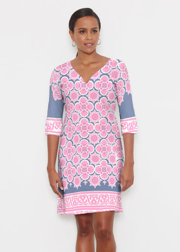 Isabella Pink (22059) ~ Classic 3/4 Sleeve Sweet Heart V-Neck Dress