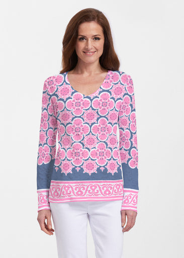 Isabella Pink (22059) ~ Thermal Long Sleeve V-Neck Shirt