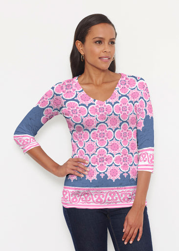 Isabella Pink (22059) ~ Signature 3/4 V-Neck Shirt
