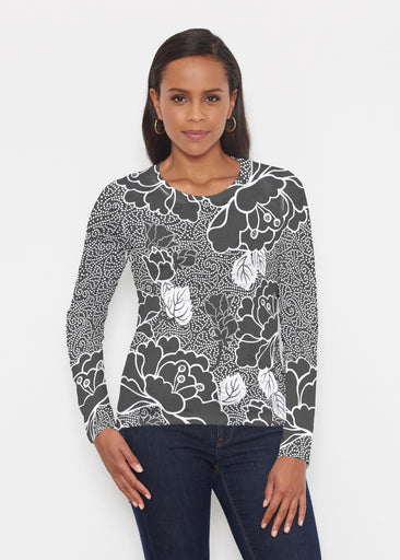 Beaded Blooms Black (22089) ~ Signature Long Sleeve Crew Shirt