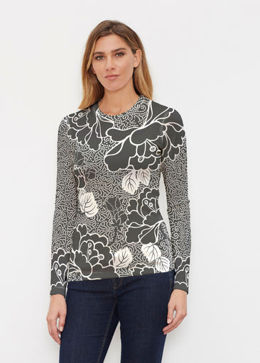 Beaded Blooms Black (22089) ~ Butterknit Long Sleeve Crew Top