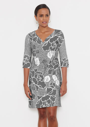 Beaded Blooms Black (22089) ~ Classic 3/4 Sleeve Sweet Heart V-Neck Dress