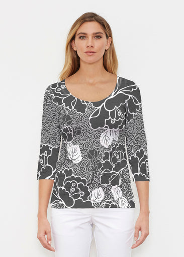 Beaded Blooms Black (22089) ~ Signature 3/4 Sleeve Scoop Shirt