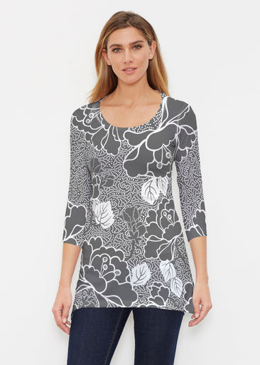 Beaded Blooms Black (22089) ~ Buttersoft 3/4 Sleeve Tunic