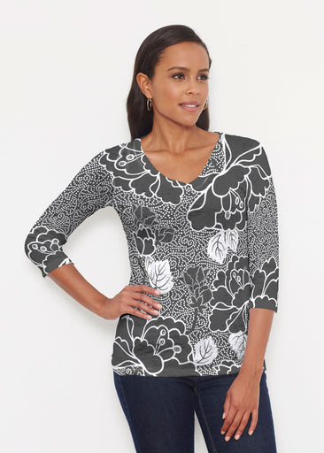 Beaded Blooms Black (22089) ~ Signature 3/4 V-Neck Shirt