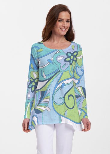 Floral Spritz Turquoise (22093) ~ Abigail Thermal Tunic