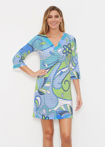 Floral Spritz Turquoise (22093) ~ Banded 3/4 Sleeve Cover-up Dress