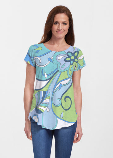 Floral Spritz Turquoise (22093) ~ Signature Short Sleeve Scoop Neck Flowy Tunic