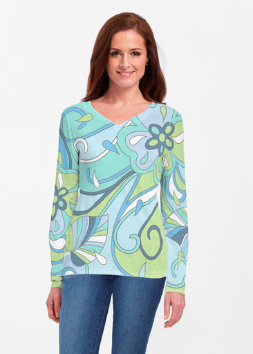 Floral Spritz Turquoise (22093) ~ Classic V-neck Long Sleeve Top
