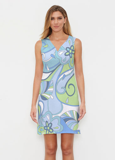Floral Spritz Turquoise (22093) ~ Classic Sleeveless Dress