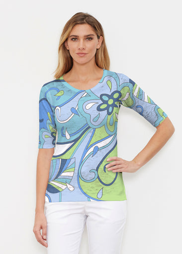 Floral Spritz Turquoise (22093) ~ Signature Elbow Sleeve Crew Shirt