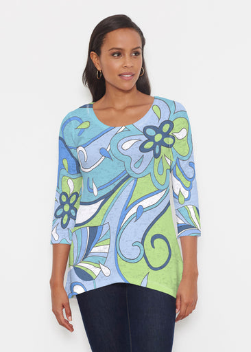 Floral Spritz Turquoise (22093) ~ Katherine Hi-Lo Thermal Tunic