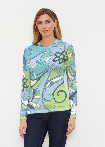 Floral Spritz Turquoise (22093) ~ Sweaterknit Long Sleeve Crew Top