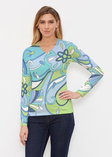 Floral Spritz Turquoise (22093) ~ Butterknit Long Sleeve V-Neck Top
