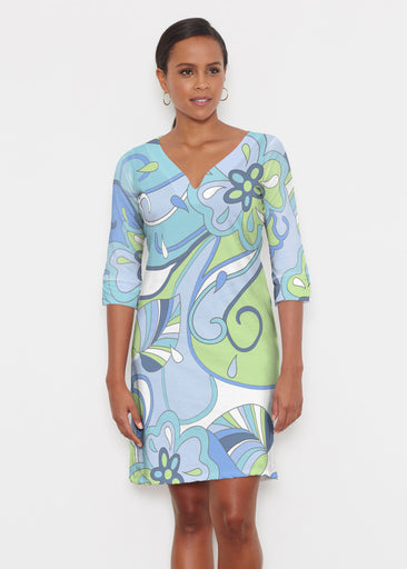 Floral Spritz Turquoise (22093) ~ Classic 3/4 Sleeve Sweet Heart V-Neck Dress