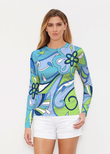 Floral Spritz Turquoise (22093) ~ Long Sleeve Rash Guard