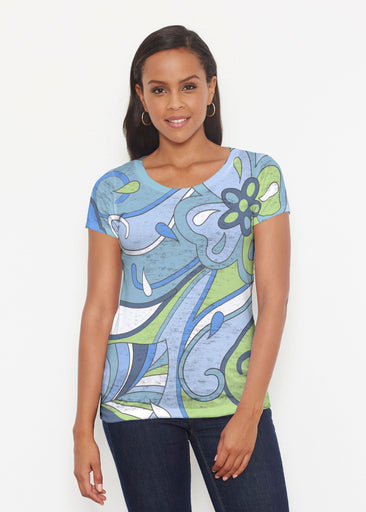 Floral Spritz Turquoise (22093) ~ Short Sleeve Scoop Shirt