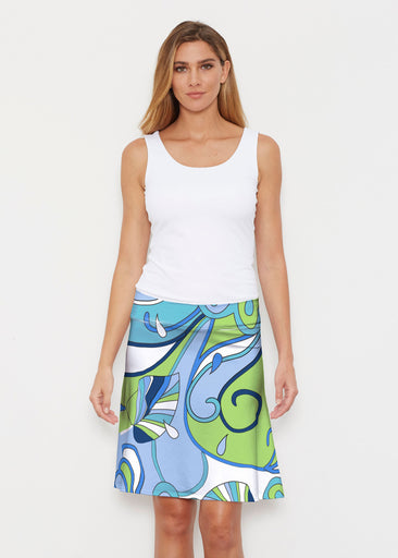 Floral Spritz Turquoise (22093) ~ Silky Brenda Skirt 21 inch