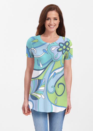 Floral Spritz Turquoise (22093) ~ Butterknit Short Sleeve Tunic