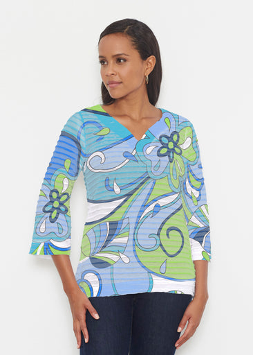 Floral Spritz Turquoise (22093) ~ Banded 3/4 Bell-Sleeve V-Neck Tunic