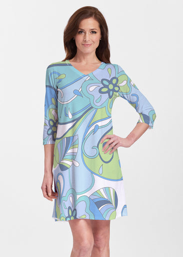 Floral Spritz Turquoise (22093) ~ Classic V-neck Swing Dress