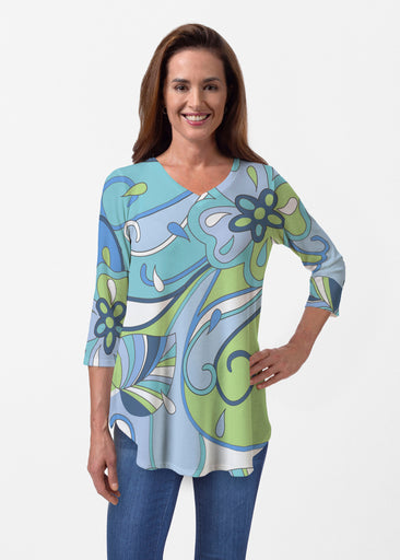 Floral Spritz Turquoise (22093) ~ Butterknit V-neck Flowy Tunic