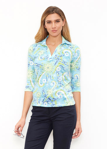Ribbons Turquoise  (22099) ~ 3/4 Sleeve Polo