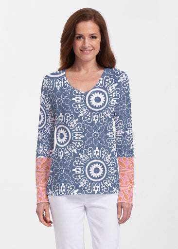 Laurel White (22101) ~ Thermal Long Sleeve V-Neck Shirt