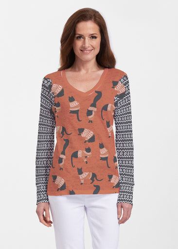 Cozy Cats Red (22102) ~ Thermal Long Sleeve V-Neck Shirt