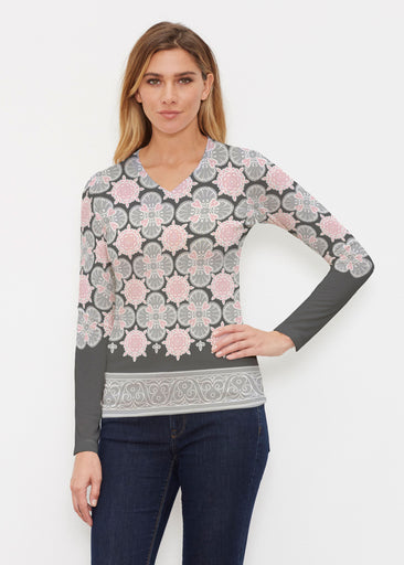 Isabella Black (22114) ~ Butterknit Long Sleeve V-Neck Top