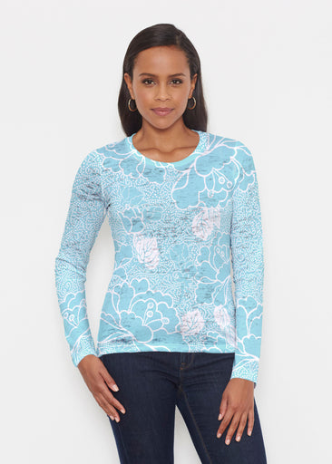 Beaded Blooms Aqua (22116) ~ Signature Long Sleeve Crew Shirt