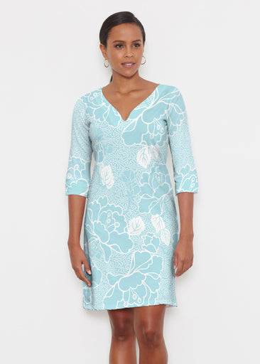 Beaded Blooms Aqua (22116) ~ Classic 3/4 Sleeve Sweet Heart V-Neck Dress