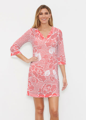 Beaded Blooms Coral (22118) ~ Banded 3/4 Sleeve Cover-up Dress