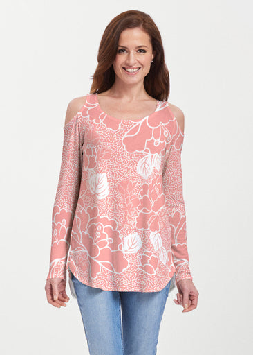 Beaded Blooms Coral (22118) ~ Cold Shoulder Tunic
