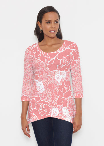 Beaded Blooms Coral (22118) ~ Katherine Hi-Lo Thermal Tunic