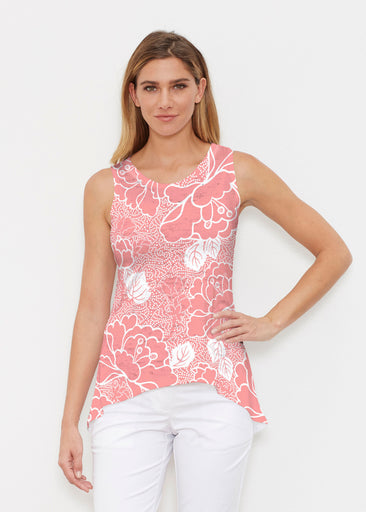 Beaded Blooms Coral (22118) ~ High-low Tank