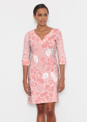 Beaded Blooms Coral (22118) ~ Classic 3/4 Sleeve Sweet Heart V-Neck Dress