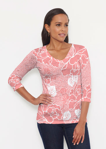 Beaded Blooms Coral (22118) ~ Signature 3/4 V-Neck Shirt
