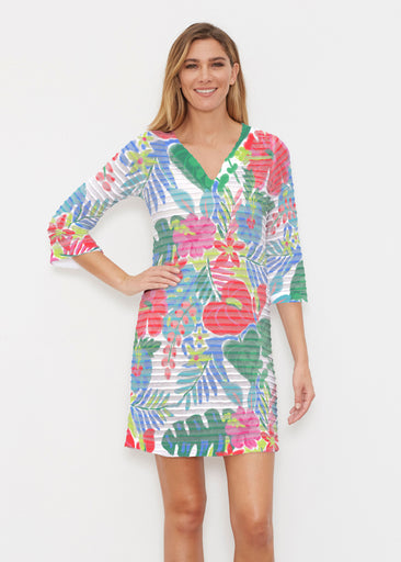 Hawaiian Fling (22141) ~ Banded 3/4 Sleeve Cover-up Dress