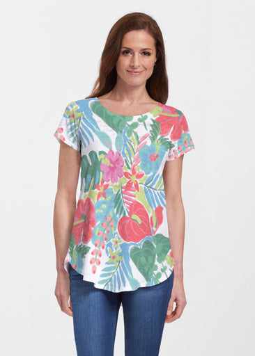 Hawaiian Fling (22141) ~ Signature Short Sleeve Scoop Neck Flowy Tunic