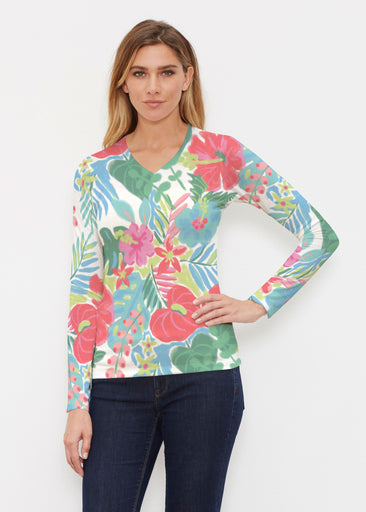 Hawaiian Fling (22141) ~ Butterknit Long Sleeve V-Neck Top